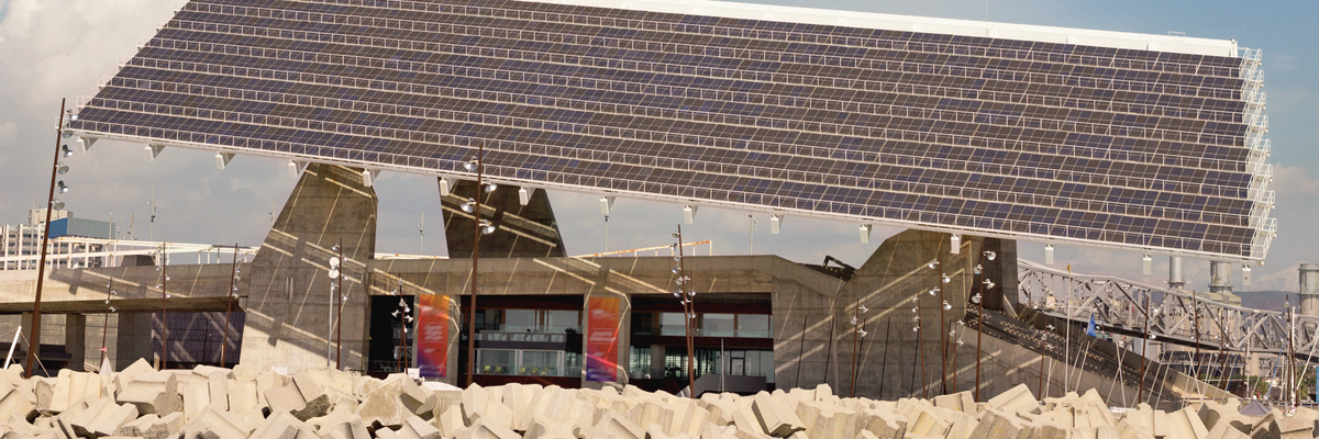Modern building with solar technology