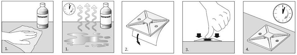 Instructions for use of self-adhesive mounting base