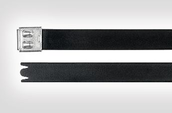 The MBT-FC cable tie is a coated stainless steel zip tie with smooth edges.