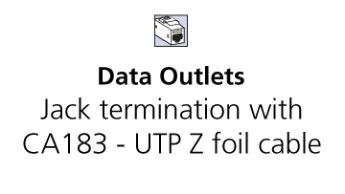 GST termination with CA183 - UTP Z foil cable Cat 6A (Class EA)