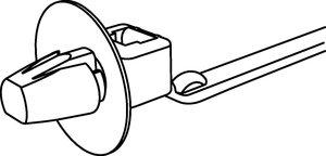 Die Teller am Kopf der Kabelbinder schützen die Bohrung vor Spritzwasser.