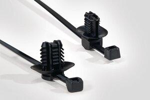 2-Lanière de fixation avec pied sapin pour trous oblongs.