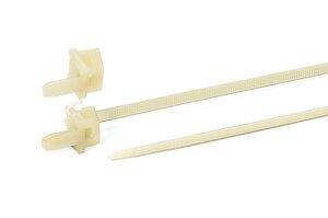 Einteiliges Befestigungselement für Rundlöcher mit speziell entwickeltem, zweikeiligem Fußteil für hohe Auszugskräfte.