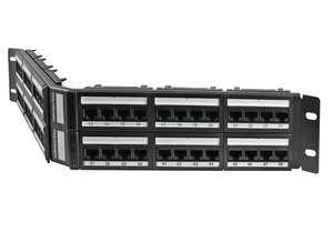 2U 48 Port Category 5e Angled Panel