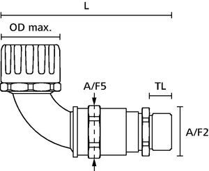 HelaGuard HG-90CG 90°-Verschraubung mit Zugentlastung und Kabelabdichtung, Außengewinde, IP66.