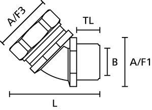 HelaGuard LTS-45FMC 45º compressiekoppeling.
