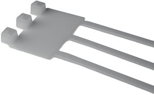 Cable tie features an identification plate to easily identify bundles.