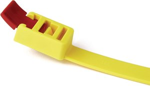 Releasable cable tie features a head design with extended pawl for quick release of bundles.