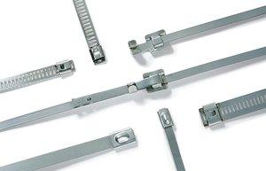Die Edelstahlkabelbinder sind bis +538 °C einsetzbar.