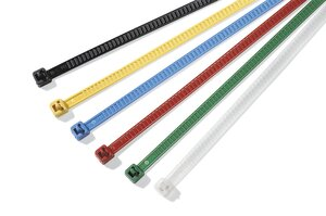 The LR55 cable ties are reusable and ideal for colour coding.
