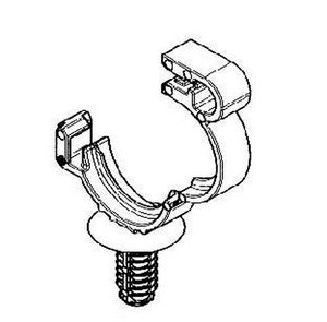 Convoluted tubing clip features a staggered fir tree branch design to provide low insertion forces and high extraction forces.