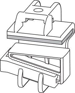 Balkklammern kan fixeras på balken med en kil. Upp till två buntar kan dras på toppen eller på sidan av klammern