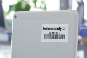 Helatag label for permanent asset identification.