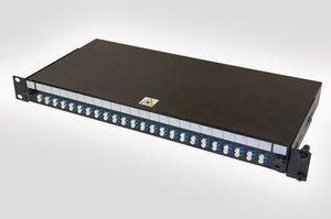 1U LC Duplex Single Mode Fibre Panel (also available with LC Duplex, LC Quad, SC Simplex or SC Duplex adaptors)