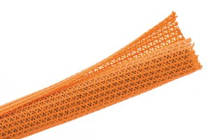 Expandable braided sleeving enlarges up to 150% of nominal diameter to accommodate irregular shapes.