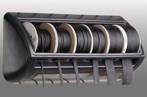 Merchandising rack includes mounting hardware.