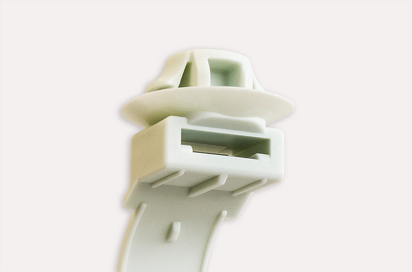 Low Profile Pushmount Tie For Supporting Plastic Flexible